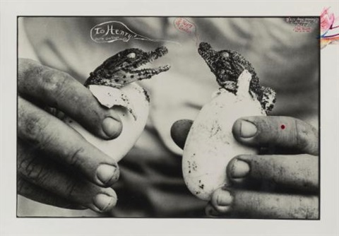 to henry & happy easter (mingled destinies of crocodyles and man, moite bay, lake rudolf) by peter beard