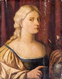 figura femminile con vaso di fiori by bernardino licinio