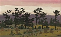 pines at sunset by bruno joseph bobak