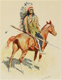 five chromolithographs by frederic remington