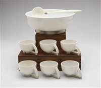 punchbowl and cups (set of 7 w/ladle and box) by paul schreckengost