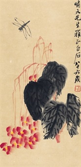 海棠蜻蜓图 (hibiscus and dragonfly) by qi baishi