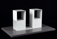 2/2 two two-part pieces using a cube with opposite sides removed by sol lewitt