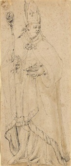 saint ulrich holding a bible and a fish by german school-augsburg (16)