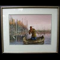 ottawa fisherman; travelling odjibway family (pair) by hubert wackermann