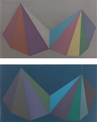 two assymetrical pyramids: two plates by sol lewitt