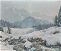 torrent de montagne dans un paysage enneigé by angelo abrate