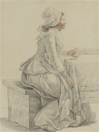 a young woman of the revolution seated at a table, in profile to the right by pierre alexandre wille