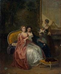 la lecture de la lettre by louis-charles-auguste couder