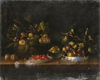 nature morte au panier, à la coupe de fruits et à l'assiette de framboises by paul dorival