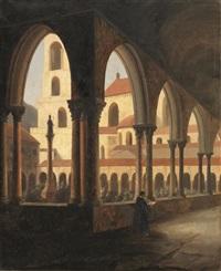 scorcio di chiesa con cortile by vincenzo abbati