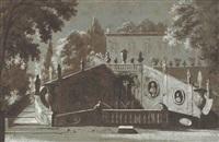 un jardin à l'italienne avec une fontaine monumentale et une villa à l'arrière-plan by etienne jeaurat