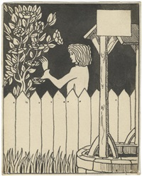 autograph pen and black wash drawing of a youth making to pluck a flower from a bush by aubrey vincent beardsley