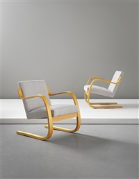 cantilevered armchairs, model no. 34/402 (pair) by alvar aalto
