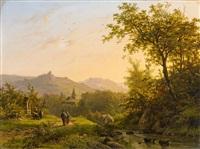 landscape with a stream at sunset by johann bernard klombeck