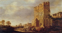 a cavalry skirmish by a capriccio of roman ruins by pieter jansz post