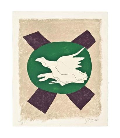 oiseau sur fond de x by georges braque