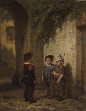 trois enfants jouant au soldat by hendrick joseph dillens