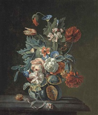 roses, a parrot tulip, poppies, convolvulus and other flowers in a glass vase on a stone ledge, with a pocket watch by simon pietersz verelst