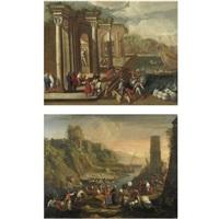 veduta di un porto con capriccio architettonico (pair) by alessandro salucci