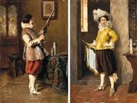 cavalier admiring his rifle by alex de andries