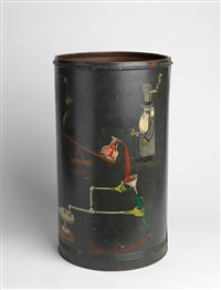 metal can with original whimsical painting of mousetrap by rube goldberg
