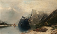 fishermen in a fjord by georg anton rasmussen