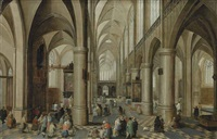 interior of a gothic cathedral with figures by peeter neeffs the elder