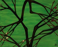 红梅与白梅 (prunus branches in a green landscape) by sanyu