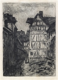 rue géricault, à rouen by camille pissarro
