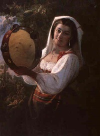 young woman with tambourine by l. (accarisi or accurisi) accurisi