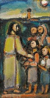 christ et enfants by georges rouault