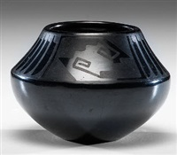 san ildefonso blackware jar by maria and santana martinez