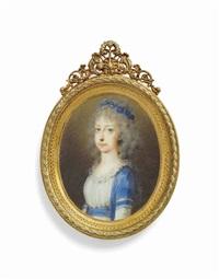 archduchess maria clementine of austria (1777-1801) in blue surcoat over white dress, blue floral wreath in her powdered hair by friedrich heinrich füger