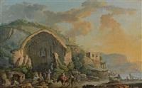 caprice architectural animé avec le temple de diane et caprice architectural animé avec le tombeau de virgile (pair) by carlo bonavia