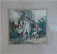 un vieillard en promenade accompagné de trois enfants by nicolas toussaint charlet