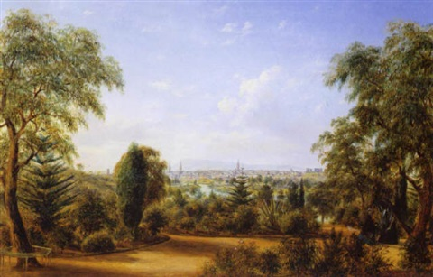 view of melbourne from the botanical gardens by henry c gritten