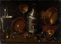 a lantern with copper pans, an earthenware dish and other kitchen utensils on a table-top by giovanni domenico valentino