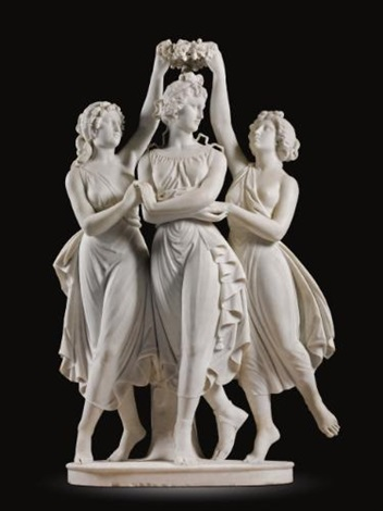 the graces crowning venus after design by antonio canova by antonio frilli
