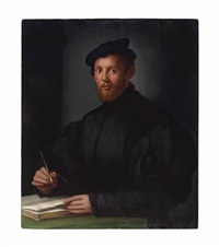 portrait of a young man with a book by agnolo bronzino