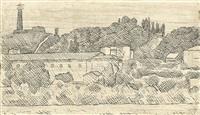 paesaggio (veduta dell'osservanza a bologna) by giorgio morandi