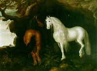 two horses by a rocky outcrop by abraham bosschaert