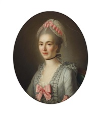 portrait of a lady, half-length, wearing a blue dress with pink ribbons and a white lace cap by françois hubert drouais
