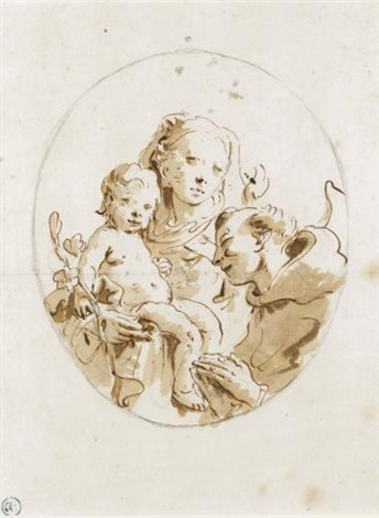 virgin and child with a saint by giovanni battista tiepolo
