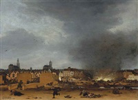 a view of delft with the explosion of 1654 by egbert lievensz van der poel