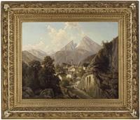 blick auf berchtesgaden, im hintergrund der watzmann by theodor (wilhelm t.) nocken