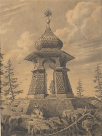 a pagoda in a landscape with two figures (+ a tower and two figures; 2 works) by emilio terry