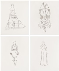 rochas, dior, balenciaga and mcqueen (from pictures of wire; 4 works) by vik muniz