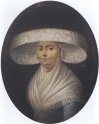 portrait of a lady in a blue dress, a white shawl and a hat by german school-frankfurt (18)