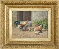 rooster, hen and chicks by william baptiste baird